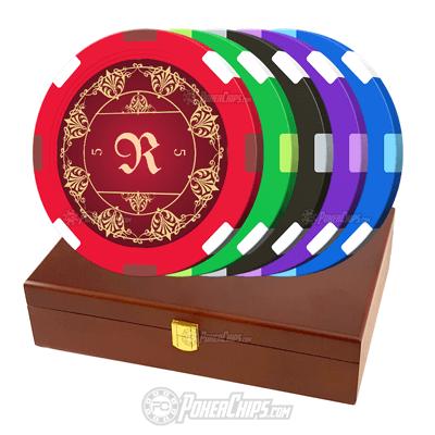 Elegant Monogram Custom Poker Chips Set