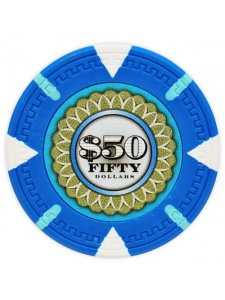 $50 Light Blue - The Mint Clay Poker Chips