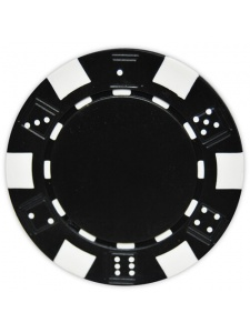 Black - Striped Dice Clay Poker Chips