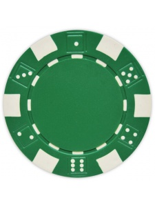 Green - Striped Dice Clay Poker Chips