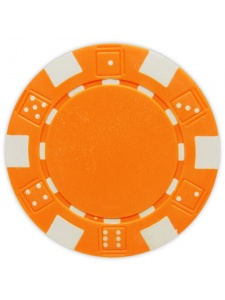 Orange - Striped Dice Clay Poker Chips