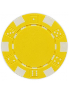 Yellow - Striped Dice Clay Poker Chips