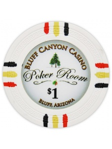 $1 White - Bluff Canyon Clay Poker Chips