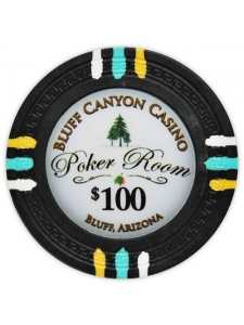 $100 Black - Bluff Canyon Clay Poker Chips