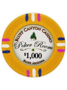 $1000 Yellow - Bluff Canyond Clay Poker Chips