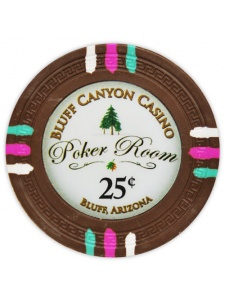 25¢ Brown - Bluff Canyon Clay Poker Chips