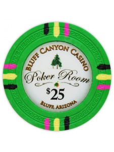 $25 Green - Bluff Canyon Clay Poker Chips