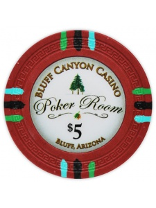 $5 Red - Bluff Canyon Clay Poker Chips
