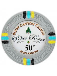 50¢ Gray - Bluff Canyon Clay Poker Chips