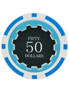$50 Light Blue - Eclipse Clay Poker Chips