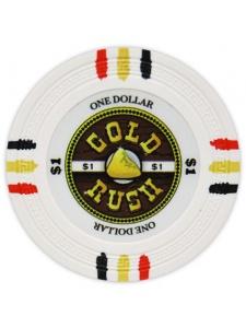 $1 White - Gold Rush Clay Poker Chips