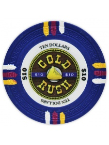 $10 Blue - Gold Rush Clay Poker Chips