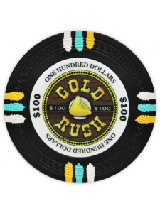 $100 Black - Gold Rush Clay Poker Chips