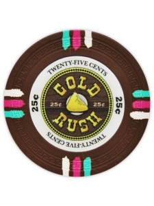 25¢ Brown - Gold Rush Clay Poker Chips