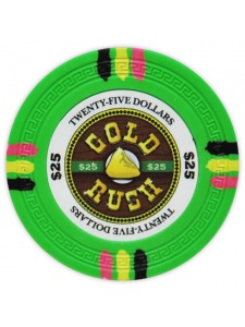 $25 Green - Gold Rush Clay Poker Chips