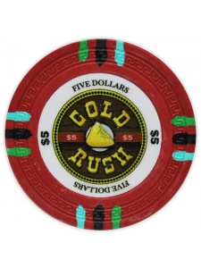 $5 Red - Gold Rush Clay Poker Chips