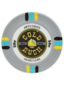 50¢ Gray - Gold Rush Clay Poker Chips