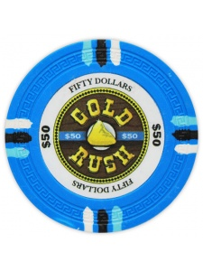 $50 Light Blue - Gold Rush Clay Poker Chips