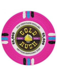 $5000 Pink - Gold Rush Clay Poker Chips