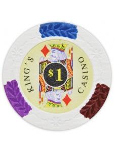 $1 White - King's Casino Clay Poker Chips