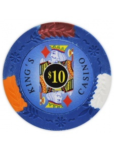 $10 Blue - King's Casino Clay Poker Chips