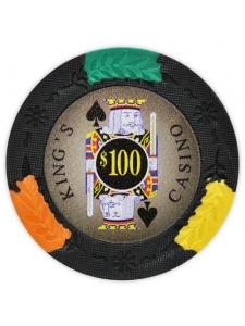 $100 Black - King's Casino Clay Poker Chips
