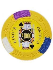 $1000 Yellow - King's Casino Clay Poker Chips
