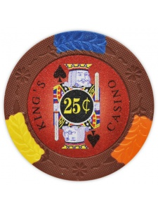 25¢ Brown - King's Casino Clay Poker Chips
