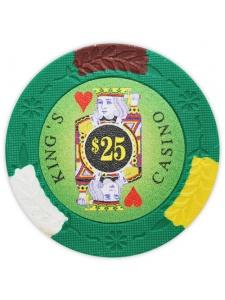 $25 Green - King's Casino Clay Poker Chips