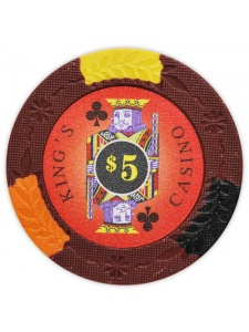 $5 Red - King's Casino Clay Poker Chips