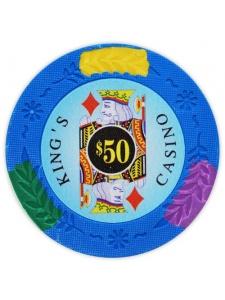 $50 Light Blue - King's Casino Clay Poker Chips