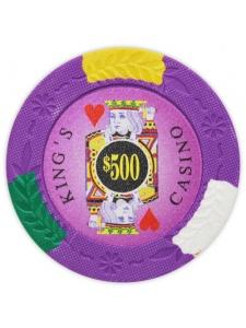 $500 Purple - King's Casino Clay Poker Chips