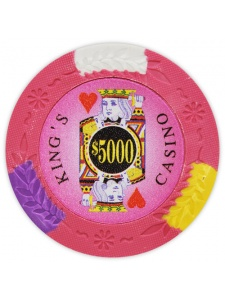 $5000 Pink - King's Casino Clay Poker Chips