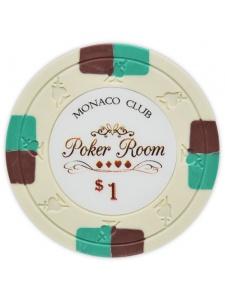 $1 Ivory - Monaco Club Clay Poker Chips