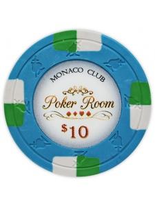 $10 Blue - Monaco Club Clay Poker Chips