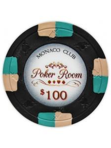 $100 Black - Monaco Club Clay Poker Chips