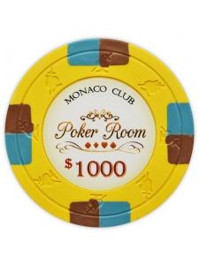 $1000 Yellow - Monaco Club Clay Poker Chips