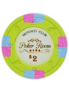 $2 Light Green - Monaco Club Clay Poker Chips