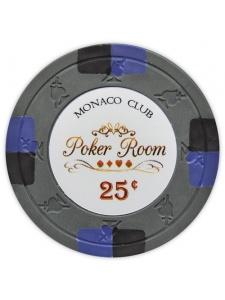 25¢ Gray - Monaco Club Clay Poker Chips
