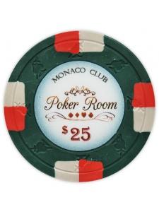 $25 Green - Monaco Club Clay Poker Chips