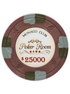$25000 Brown - Monaco Club Clay Poker Chips