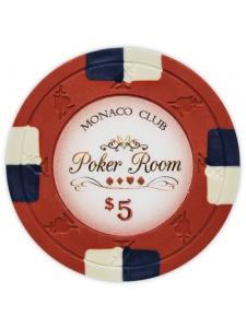 $5 Red - Monaco Club Clay Poker Chips