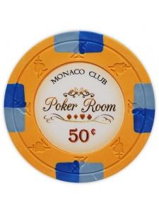 50¢ Orange - Monaco Club Clay Poker Chips