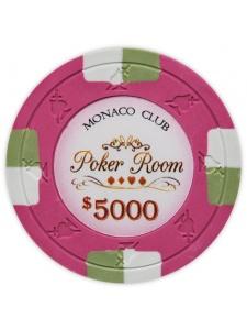 $5000 Pink - Monaco Club Clay Poker Chips