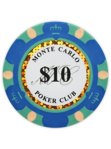 $10 Blue - Monte Carlo Clay Poker Chips