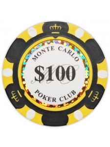 $100 Black - Monte Carlo Clay Poker Chips