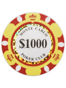 $1000 Yellow - Monte Carlo Clay Poker Chips