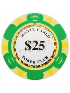 $25 Green - Monte Carlo Clay Poker Chips