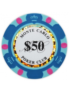 $50 Light Blue - Monte Carlo Clay Poker Chips