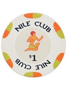 $1 White - Nile Club Ceramic Poker Chips